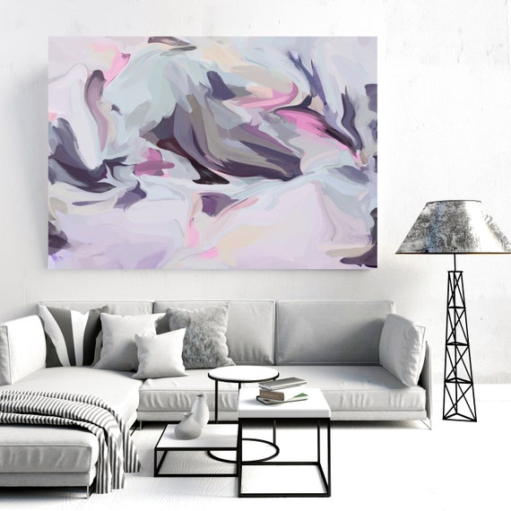 Invisible spirits, Pink Blue pastel colors Art, Abstract painting, Mauve Pink Light  Blue painting, Modern Canvas Art Print, Fluid painting