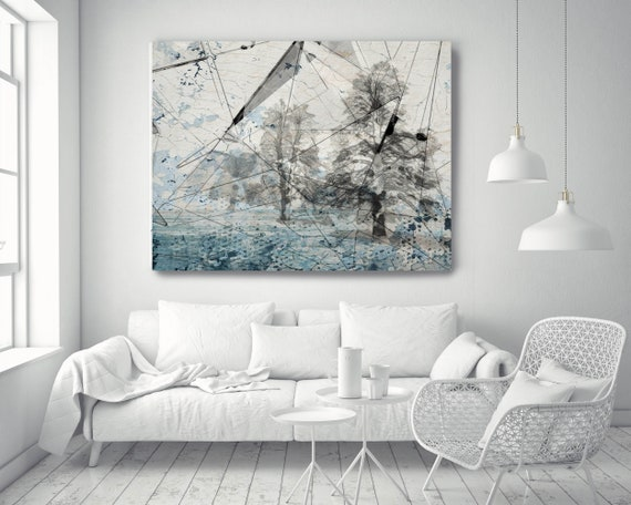 "Blue Crystal Forest. Huge Rustic Landscape Painting Canvas Art Print, Extra Large White Blue Gray Canvas Art Print up to 80"" by Irena Orlov"