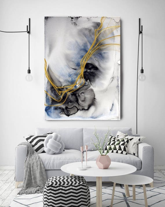"""Coastal Watercolor Abstract 86. Watercolor Abstract Blue Black Gold Canvas Art Print, Watercolor Painting Print up to 72"""" by Irena Orlov"""