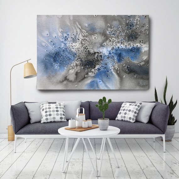 "Coastal Watercolor Abstract 78. Watercolor Abstract Blue Black Canvas Art Print, Watercolor Painting Print up to 72"" by Irena Orlov"