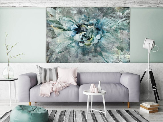 "ORL-8029-2 Delightful Blue. Floral Painting, Green Abstract Art, Abstract Colorful Contemporary Canvas Art Print up to 72"" by Irena Orlov"