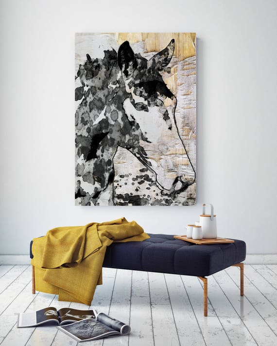 "French Horse. Extra Large Horse, Horse Wall Decor, Black White Rustic Horse, Large Contemporary Canvas Art Print up to 72"" by Irena Orlov"