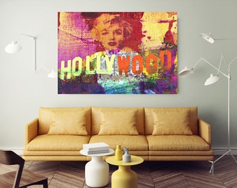Large Canvas Print : Marilyn Monroe Hollywood by Irena Orlov, large canvas art print, wall art print, red yellow, fine art print