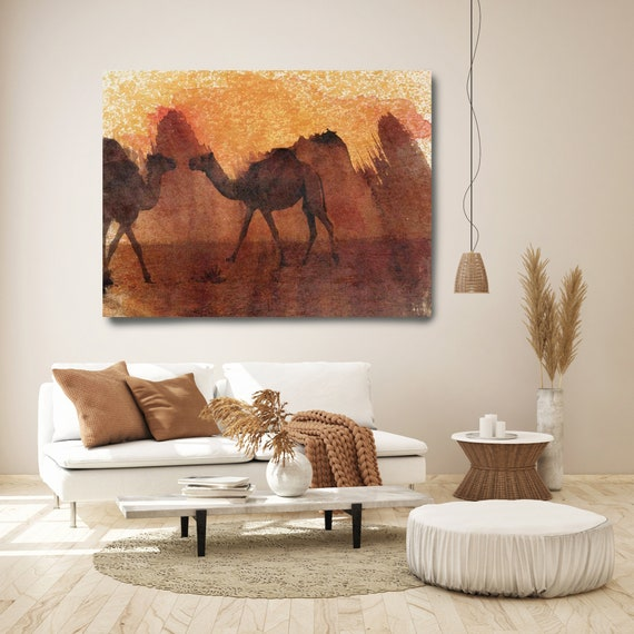 Two Camels, Camel Canvas Painting, Camel Wall Art, Camel Painting, Brown Wall Art, Camel Wall Decor, Camel Art Print