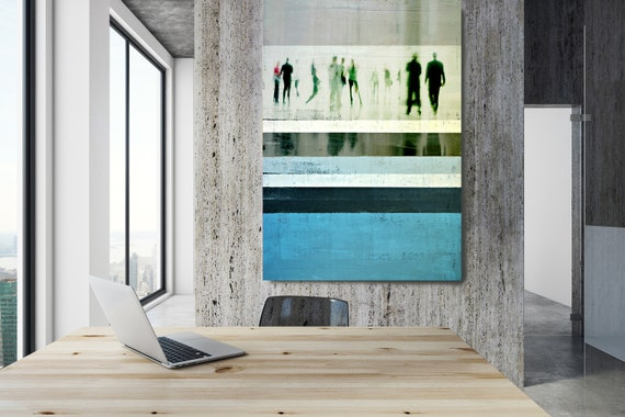 "Going To Work 6,  Art for Your Office, Office Wall Art, Blue Corporate Office Decor, Extra Large Canvas Art Print up to 72"" by  Irena Orlov"