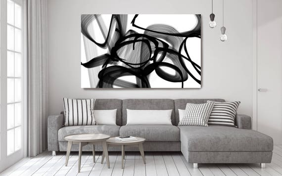 "Abstract Expressionism in Black And White 88. Unique Abstract Wall Decor, Large Contemporary Canvas Art Print up to 72"" by Irena Orlov"
