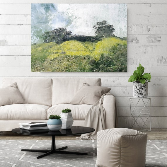 Green Field vintage landscape painting, watercolor Landscape Painting Canvas Print Landscape Art, Landscape Painting Print Fine Art Scene