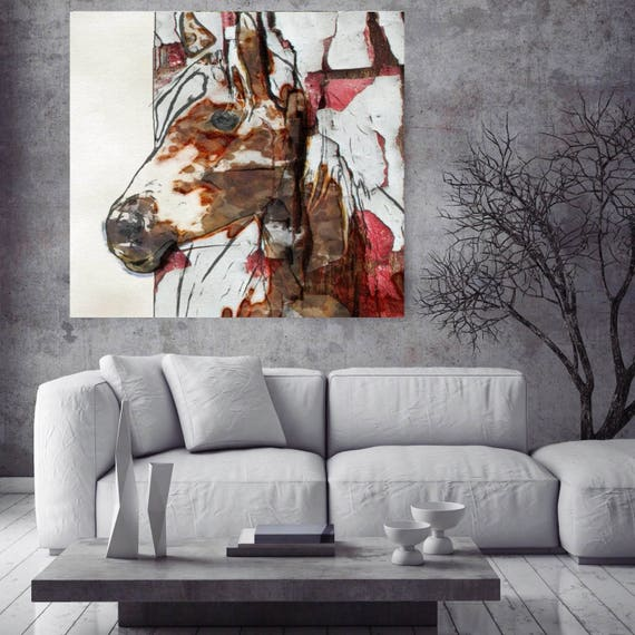 "Horse Art. Large Horse, Unique Horse Wall Decor, Brown White Rustic Horse, Large Contemporary Canvas Art Print up to 48"" by Irena Orlov"