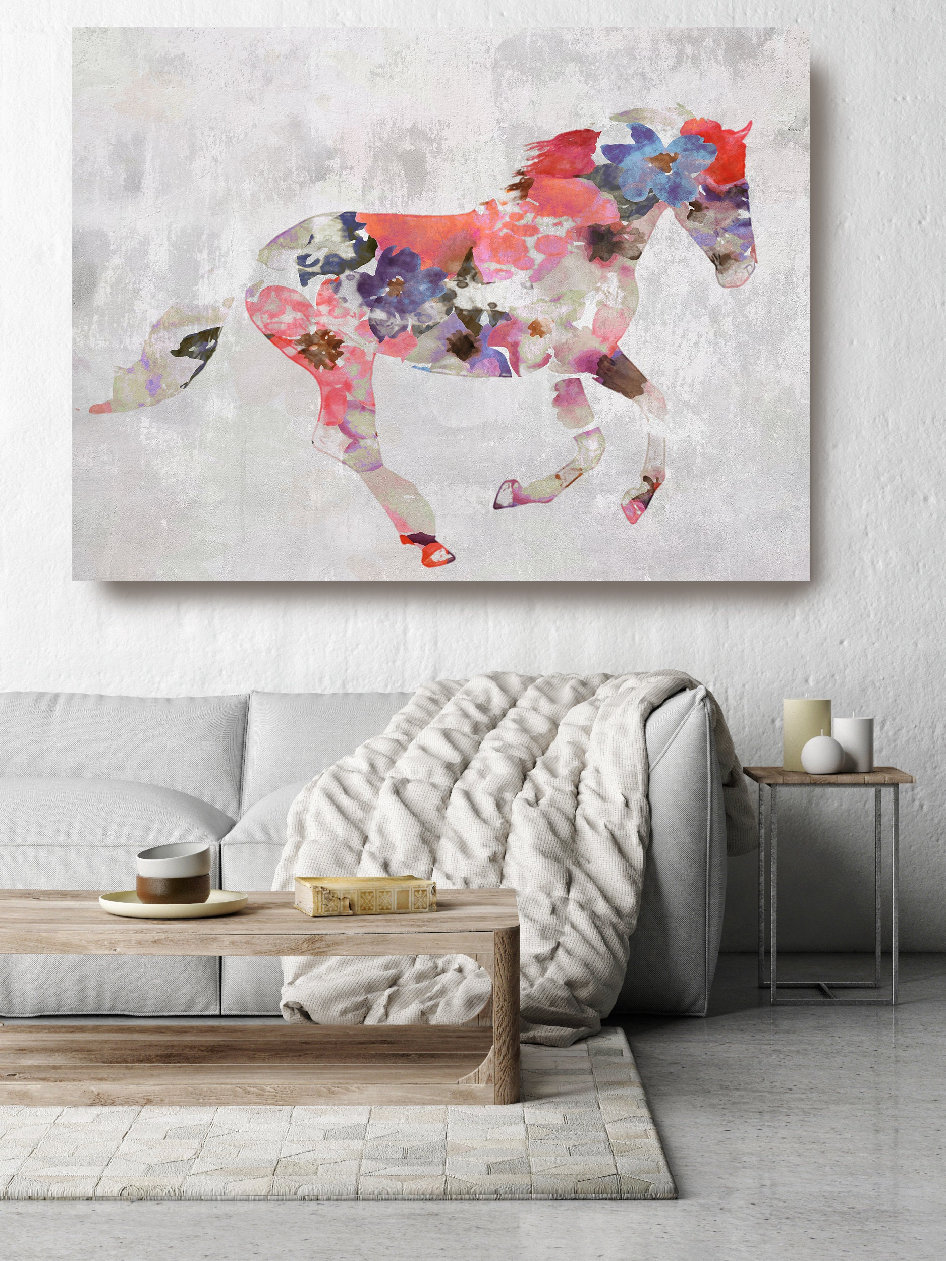 Colorful Floral Horse Painting Horse Mixed Media Painting Canvas Print Boho Horse Floral Horse Art Large Canvas Painted Horse Boho Wall Art