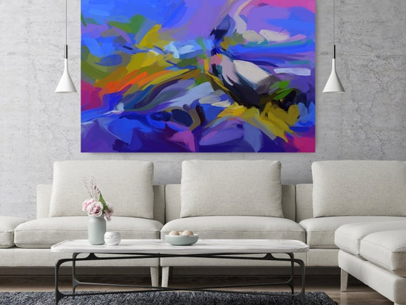 "City For You And I, Abstract Painting Modern Wall Art Painting Canvas Art Print Art Modern Purple Blue Green Yellow up to 80"" by Irena Orlov"