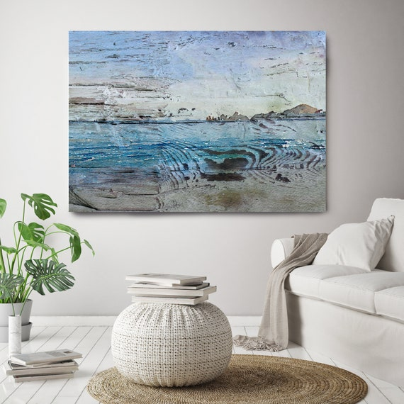 "Mixing fresher air, Vintage Beach Decor, Coastal Wall Canvas Art, Blue White, Sea Canvas Print 80"" by Irena Orlov"