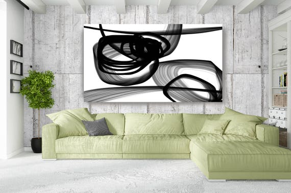 "Abstract Expressionism in Black And White 28. Contemporary Unique Wall Decor, Large Contemporary Canvas Art Print up to 72"" by Irena Orlov"