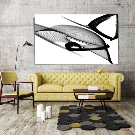 "Abstract Black and White 22-03-49. Unique Abstract Wall Decor, Large Contemporary Canvas Art Print up to 72"" by Irena Orlov"