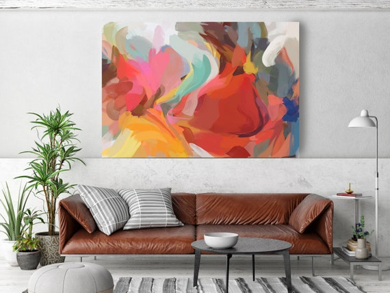 Art Abstract Painting Colorful Abstract Painting, Contemporary Art, Hand Painted Extra Large Canvas Print, Abstract Colorful Flows-114-40-57