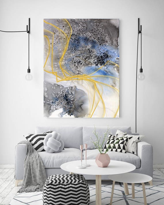 "Coastal Watercolor Abstract 16. Watercolor Abstract Blue Black Gold Canvas Art Print, Watercolor Painting Print up to 72"" by Irena Orlov"