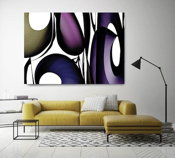"Mid-Century Abstract 23. Mid-Century Modern Purple Black Blue Canvas Art Print, Mid Century Modern Canvas Art Print up to 72"" by Irena Orlov"