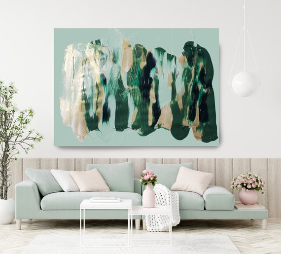 Blue Gold Green Flow, Green Gold Abstract Painting  Modern Art Abstract Painting Extra Large Painting Extra Large Abstract Canvas Print
