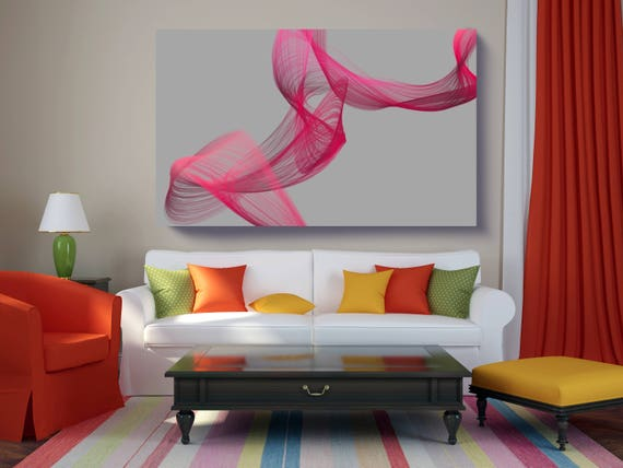 "Color Movement Abstract 2. Abstract New Media Art, Wall Decor, Extra Large Abstract Gray Magenta Canvas Art Print up to 72"" by Irena Orlov"