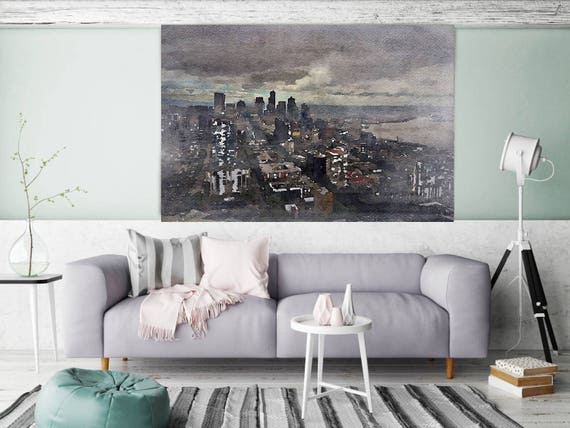 """Skyline, Large Architectural Cityscape Canvas Art Print. Rustic Brown URBAN Canvas Art Print up to 72"""" by Irena Orlov"""