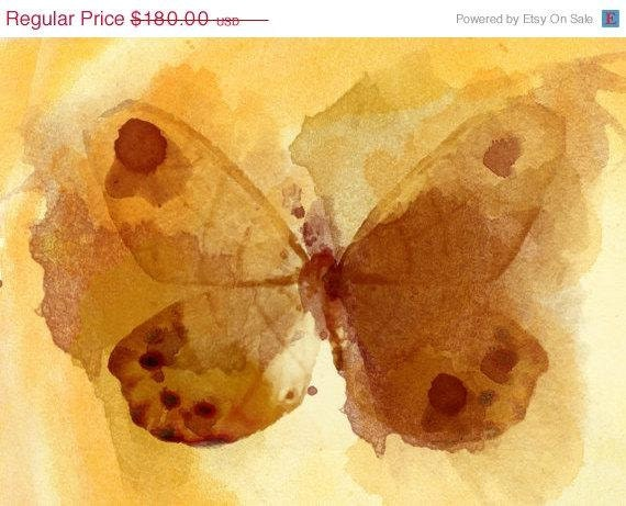"""ON SALE Yellow Butterfly. Canvas Print by Irena Orlov 20X16"""" ,large butterfly canvas print, butterfly wall decor, butterfly art print"""