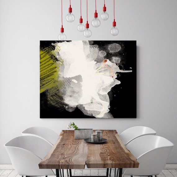 """White and Black Flower. Floral Painting, White Black Abstract Art, Abstract Colorful Contemporary Canvas Art Print up to 72"""" by Irena Orlov"""