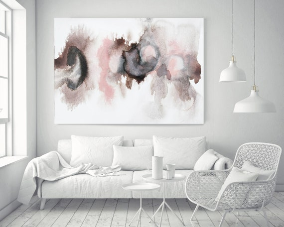 "Pink Blue Brown Grey Watercolor abstract splash 13. Pink Brown Abstract Paintings Contemporary Canvas Art Print up to 72"" by Irena Orlov"