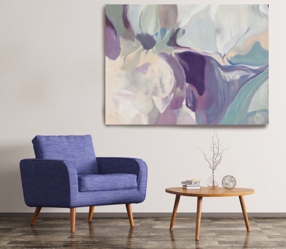 Mixed Feelings, Huge Turquoise Purple Beige Gray Abstract Modern Canvas Art Print, Canvas Print by Irena Orlov