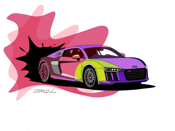 "Audi, Audi art print Luxury vehicle Pink Red Purple Audi Painting Canvas Art Print, Kids Wall Decor, Cars Wall Decor up to 72"" by Zeev Orlov"
