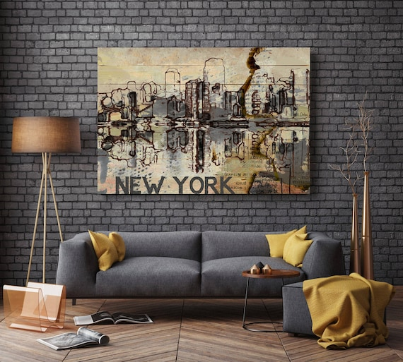 """New York Skyline, Large Architectural Cityscape Canvas Art Print. Rustic Brown URBAN Canvas Art Print up to 72"""" by Irena Orlov"""