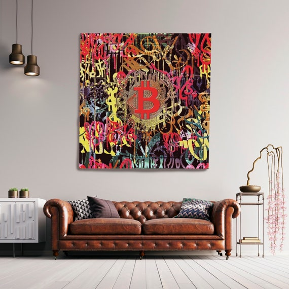 Bitcoin Cryptocurrency Canvas Print. Bitcoin Abstract Modern Office Decor Cryptocurrency Wall Art Home Office Bitcoin Graffiti