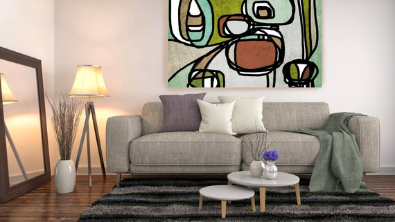 Vibrant Colorful Abstract-0-1-1. Wall Art Mid Century Modern Painting Art Canvas Print Retro Loft Art Large Wall Art, Canvas Art Print