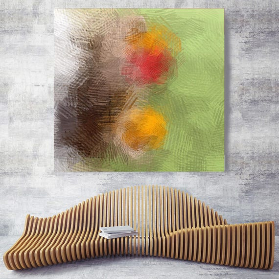 """Eco Earth No 4-7. Geometrical Abstract Art, Wall Decor, Extra Large Abstract Green Yellow Red Canvas Art Print up to 48"""" by Irena Orlov"""