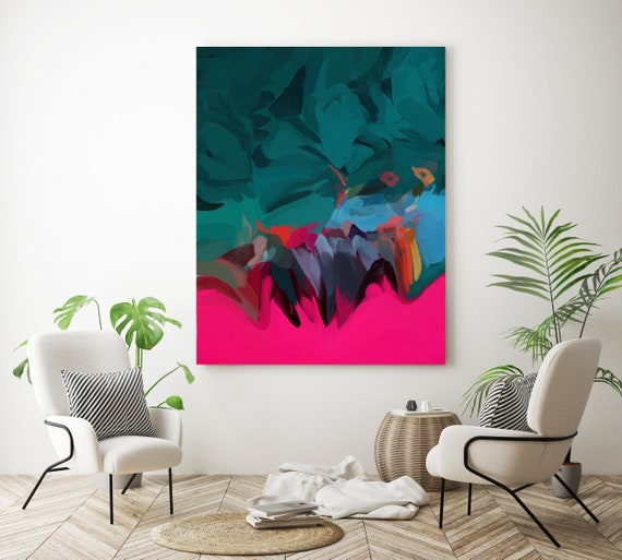 Energetic performance 2, Abstract Art Hot Pink Green Acrylic Fluid painting wall art gift for her Original Artwork Canvas Art Print