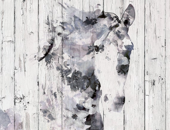 Blue White horse decor, Horse lovers gift, Horse Home decor, Blue Horse painting, Farmhouse art, Rustic Horse Art, Horse Canvas Print