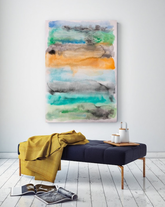 """Across the Bay. Watercolor Abstract, Modern Wall Decor, Extra Large Abstract Colorful Contemporary Canvas Art Print up to 72"""" by Irena Orlov"""
