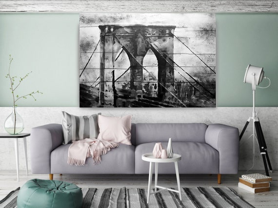 Brooklyn Bridge. Extra Large Rustic Urban Canvas Original Art. Cityscape BW Rustic Original Oil/Acrylic Art by Irena Orlov