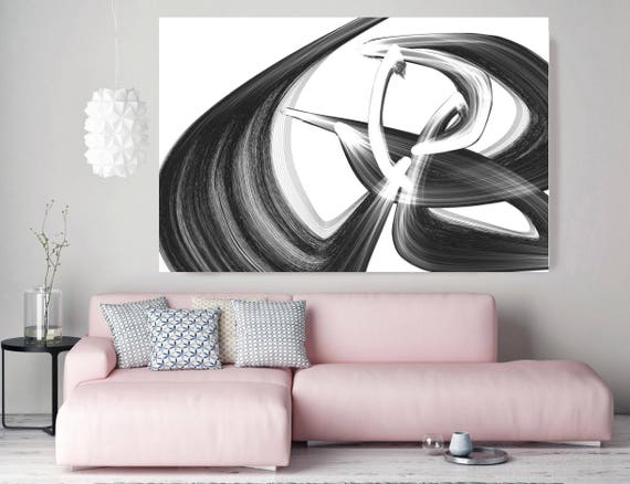 "All over again. Abstract Black and White, Unique Abstract Wall Decor, Large Contemporary Canvas Art Print up to 72"" by Irena Orlov"
