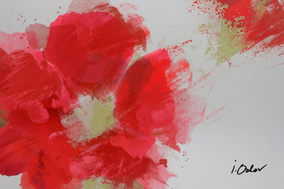 """An explosion. Floral Painting, Red Gray Abstract Art, Wall Decor, Abstract Colorful Contemporary Canvas Art Print up to 72"""" by Irena Orlov"""