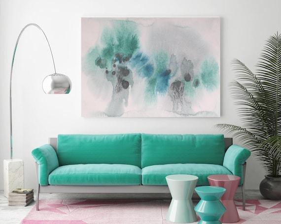 "Watercolor Coastal Abstract 80. Watercolor Abstract Black Green Teal, Watercolor Painting Print Canvas Art Print up to 72"" by Irena Orlov"