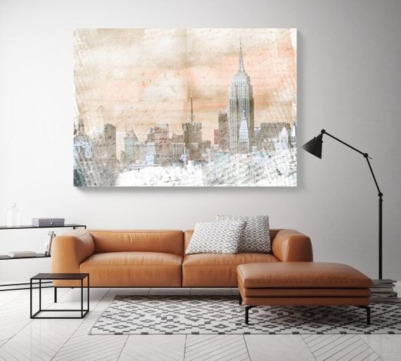 New York City, Cityscape Painting, Grey Cooper Large Abstract Urban Painting Canvas Print, Urban New York, Office Art