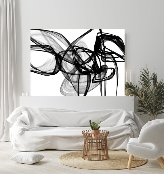 "Abstract Black White New Media Painting on Canvas, Knowledge, Minimalist 68 x 46"", Minimalist Large Abstract Painting, INVEST IN ART"