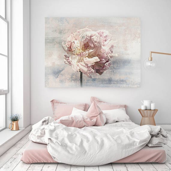 Shabby Chic Floral Canvas Wall Art, Peony Canvas Wall Art, Shabby Chic Flower, Pink Peony Print, Peony Wall Art Print, Shabby Chic Art