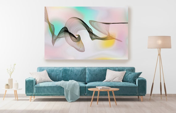Aqua Abstract Gradient Flow Modern Abstract Wall Art Decor Abstract Canvas Print Modern Trendy Wall art Luxury Abstract Painting, Minimalist