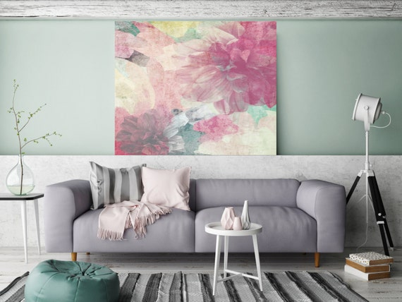 The good old days. Extra Large up to 45 inches Rustic Cottage Chic Floral Canvas Art Print, Pink Pastel Colors Wall Art Decor by Irena Orlov