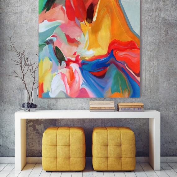 "Environmental Vibrations  27-17. Original Contemporary Extra Large Vibrant Colorful Abstract Oil Painting on Canvas 50 x 50"" Not stretched"