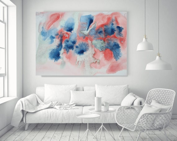 "Turquoise Red Blue Watercolor abstract splash 1.. Watercolor Abstract Red Blue Canvas Art Print up to 72"" by Irena Orlov"