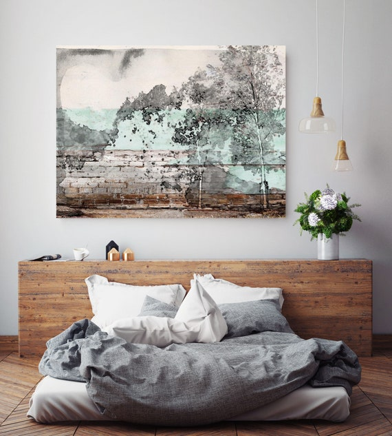"Conception of esthetic. Huge Rustic Landscape Painting Canvas Art Print, Large Gray Brown Blue Canvas Art Print up to 80"" by Irena Orlov"