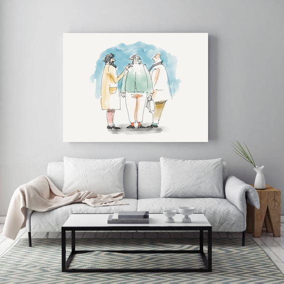 "Old Friends, People Illustration art print. White Blue Large Canvas Art Print, Wall Decor up to 72"" by Zeev Orlov"