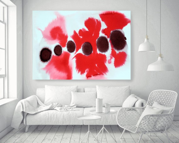 "Red Watercolor abstract splash 1-2, Watercolor Abstract, Extra Large Red Black Contemporary Canvas Art Print up to 72"" by Irena Orlov"