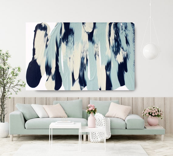 Blue Reflection, Turquoise Blue Abstract Painting  Modern Art Abstract Painting Extra Large Painting Extra Large Abstract Canvas Print